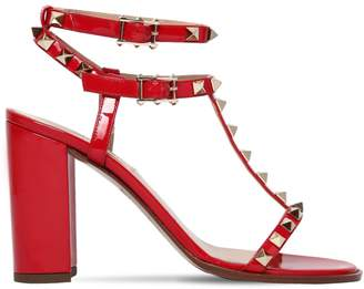 Valentino 90mm Rockstud Patent Leather Sandals