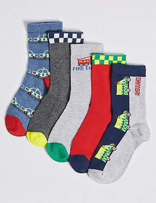Marks and Spencer 5 Pairs of Transport Socks (1-6 Years)