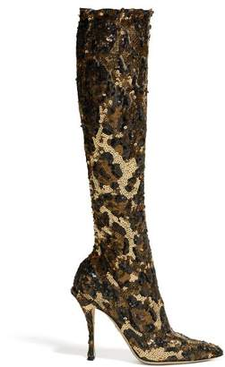 Dolce & Gabbana Leopard Sequinned Knee High Boots - Womens - Leopard
