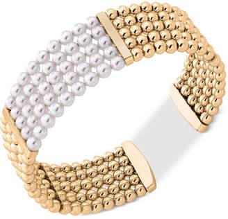 Majorica Gold-Tone Bead & Imitation Pearl Bangle Bracelet