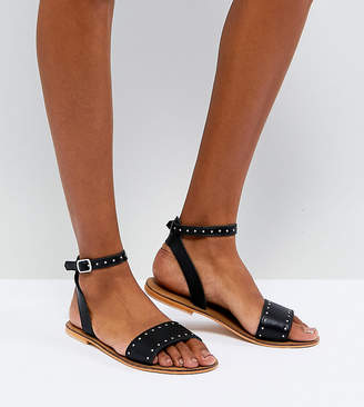 Asos FREJA Leather Studded Flat Sandals