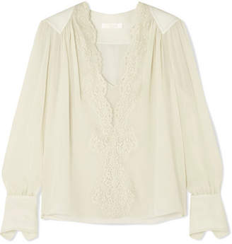 Chloé Lace-trimmed Silk-chiffon Blouse - Gray