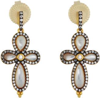 Freida Rothman Pave Crystal Clover Drop Earrings