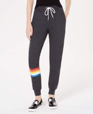 Planet Gold Juniors' Rainbow-Stripe Jogger Pants