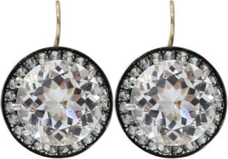 Andrea Fohrman 15MM Rock Crystal And Sapphire Earrings