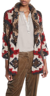 Brunello Cucinelli Shawl-Collar Paillette Cashmere-Blend Cable-Knit Cardigan