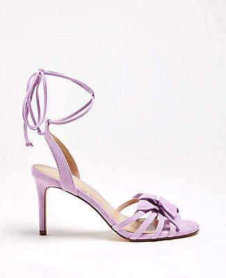 Ann Taylor Lillie Flower Suede Heeled Sandals