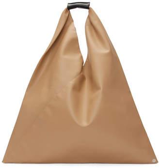 MM6 MAISON MARGIELA Beige Faux-Leather Triangle Tote