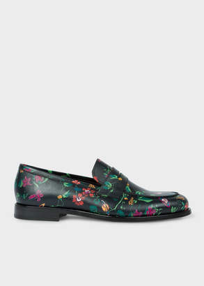 Paul Smith Men's Black 'Explorer Floral' Print Leather 'Wolf' Loafers