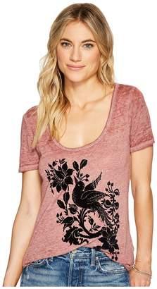 Lucky Brand Flocked Bird Tee Women's T Shirt