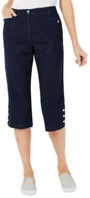 Karen Scott Relaxed-Fit Mid-Rise Buttoned Capri Pants