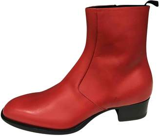 Saint Laurent Red Leather Boots