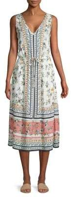 Lucky Brand Floral V-Neck Midi Dress