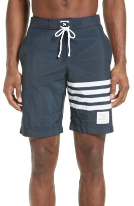 Men's Thom Browne 4-Bar Print Tech Board Shorts $650 thestylecure.com