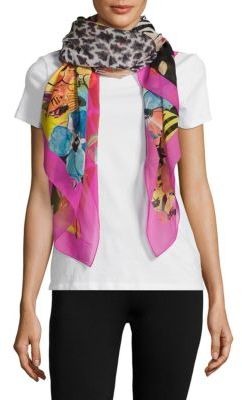 Salvatore Ferragamo Jungle-Printed Silk Scarf
