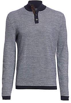 Ermenegildo Zegna Men's Woven Contrast-Trim Wool Sweater