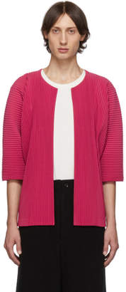 Issey Miyake Homme Plisse Pink Pleated Open Front Cardigan