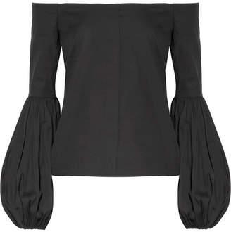 Gisele Off-the-shoulder Cotton-blend Poplin Top - Black