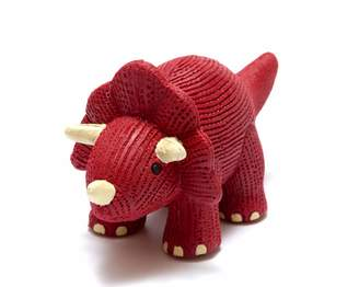 Best Years Original By Design My First Red Triceratops Dinosaur Natural Rubber Teether or Bath Toy. Suitable from Birth