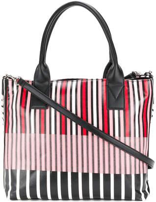 Pinko striped logo tote bag
