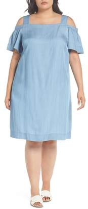 Vince Camuto Ruffle Cold Shoulder Chambray Dress