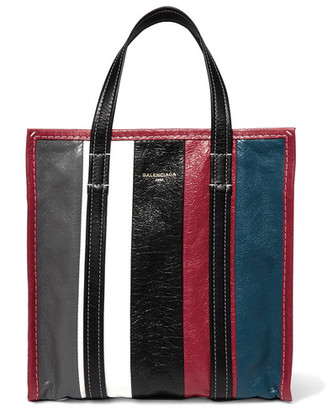 Balenciaga - Bazar Small Striped Textured-leather Tote - Burgundy $1,495 thestylecure.com