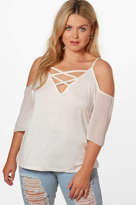 boohoo Plus Maddison Lace Up Front Wide Sleeve Tunic Top