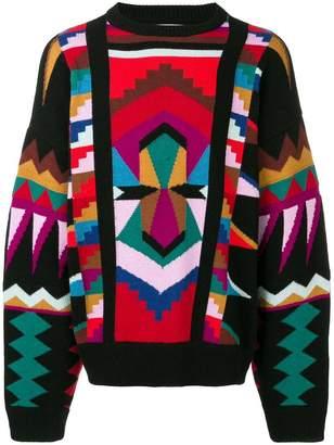 Laneus geometric knit jumper
