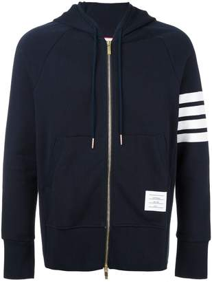 Thom Browne 4-bar zip-up jersey hoodi navy