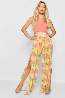 boohoo Tropical Print Mesh Wide Leg Trousers