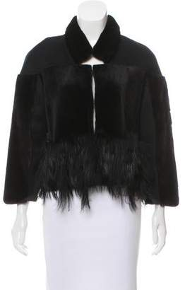 Oscar de la Renta Fur-Trimmed Angora-Blend Jacket w/ Tags
