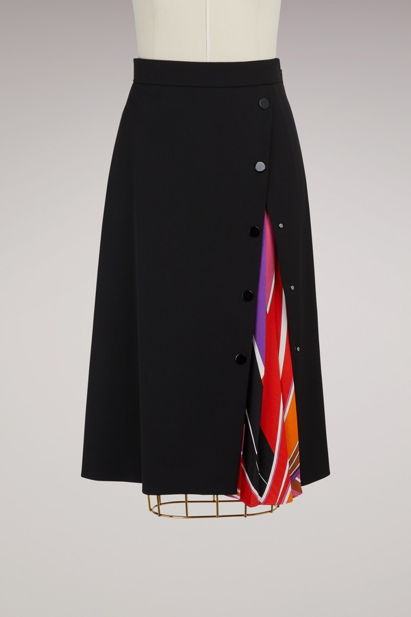 Emilio Pucci Wool knee lenght skirt with printed detail
