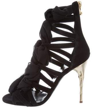 Balmain Lace-Up Suede Sandals