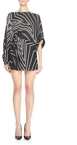 Saint LaurentSaint Laurent Gathered Star-Print Mini Dress, Black/White