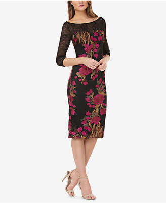 JS Collections Embroidered Lace Sheath Dress