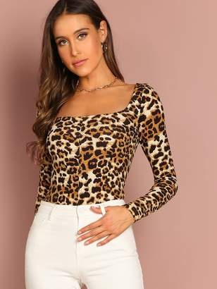 Shein Leopard Pattern Square Neck Tee