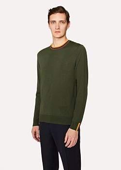 Paul Smith Men's Racing Green Merino-Wool Sweater With 'Artist Stripe' Collar And Cuffs