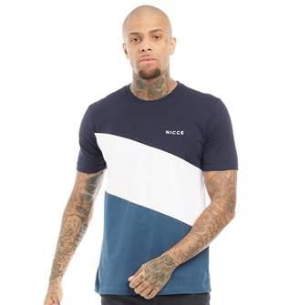 2a000873 Nicce Mens Triad T-Shirt Navy/White/Majorca Blue