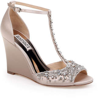 Badgley Mischka Sarah Crystal Embellished Satin Dressy Wedge Sandals