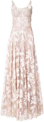 Patbo sleeveless sheer embellished lace gown