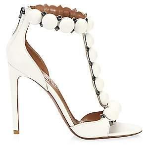 Alaà ̄a Women's Bombe Leather T-Strap Sandals