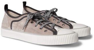 Lanvin Cap-Toe Canvas-Trimmed Velvet Sneakers