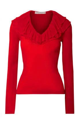 Philosophy di Lorenzo Serafini Ruffled Ribbed-knit Sweater