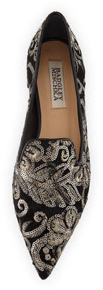 Badgley Mischka Mary Velvet Loafer with Sequins