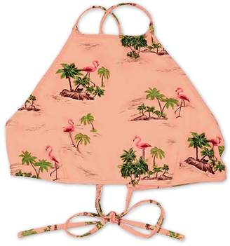 Forever 21 Flamingo Print High-Neck Bikini Top