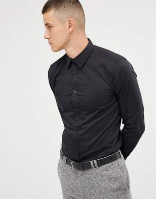 Benetton slim fit shirt with stretch in black
