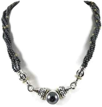 Lagos Sterling Silver and 18K Yellow Gold Caviar 5-Row Hematite Beaded Necklace