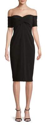 Betsy & Adam Off-the-Shoulder Twisted Crepe Dress