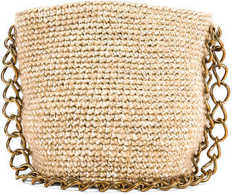 Carolina Santo Domingo Small Raffia Bucket Bag in Mohair Pearl | FWRD