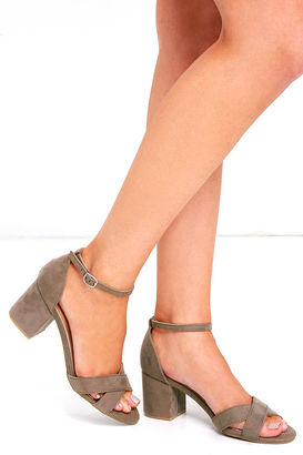 Chic Solution Light Taupe Ankle Strap Heels $29 thestylecure.com